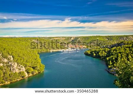 Krka river and town of Skradin view, Dalmatia, Croatia - stock photo