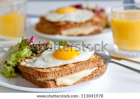 Krok madame - traditional French breakfast - stock photo