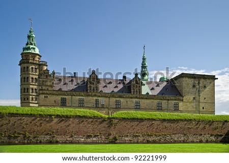 Kronborg Castle is a Renaissance castle, built in 1574-1585 by Danish King  Frederik II. - stock photo
