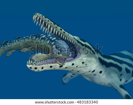 Kronosaurus attacks Rhizodus Computer generated 3D illustration