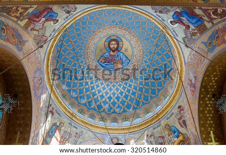 KRONSTADT, RUSSIA - AUGUST 4, 2015: The painting on the dome of the Naval Cathedral of Saint Nicholas, near Saint-Petersburg. Religious paintings and icons - stock photo