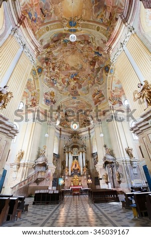 KRTINY, CZECH REPUBLIC, 26TH APRIL 2014 - interiors of Pilgrimage Church in Krtiny village of the Name of Virgin Mary from famous baroque architect Jan Blazej Santini Aichel - since 1750 year