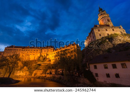 Krumlov castle during twilight