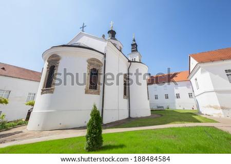 Krusedol Monastery, Fruska Gora National Park, Serbia. Monastery Krusedol episcopal church in Fruska Gora, Serbia . It was built between 1509 and 1514 - stock photo