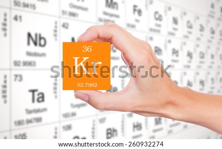 Krypton symbol handheld in front of the periodic table - stock photo