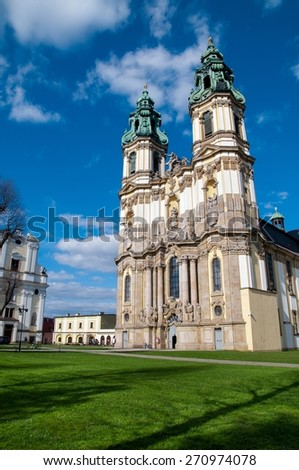 Krzeszow and the Shrine of Our Lady of Grace at sunny day