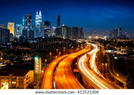 Kuala lumper skyline at night, Malaysia - stock photo