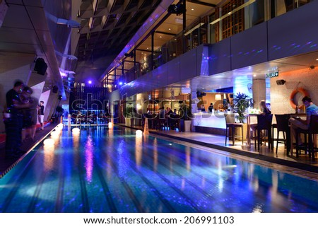 KUALA LUMPUR-APRIL 25: sky bar interior on April 25, 2014 in Kuala Lumpur, Malaysia. K.L. is the federal capital and most populous city in Malaysia for shopping, clubbing and tourism
