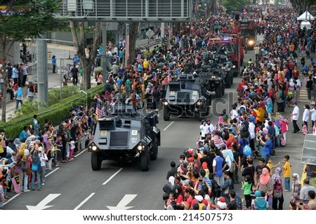 KUALA LUMPUR - AUGUST 31: Anti riot vehicle from Police department during 57th Celebrations, Malaysian Independence Day Parade on August 31, 2014 in Kuala Lumpur, Malaysia.