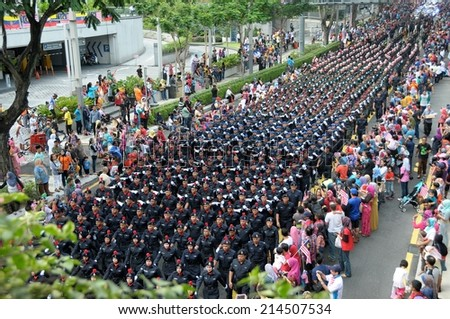 KUALA LUMPUR - AUGUST 31: Police department during 57th Celebrations, Malaysian Independence Day Parade on August 31, 2014 in Kuala Lumpur, Malaysia.