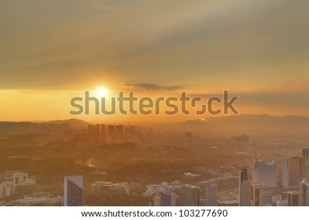 Kuala Lumpur City Centre Skyline at Sunset - stock photo