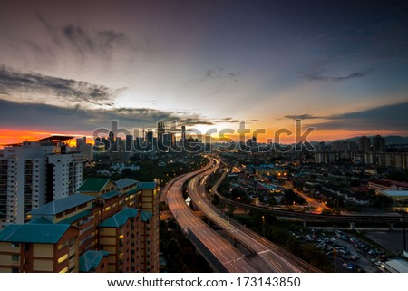 Kuala Lumpur city during sunset. - stock photo