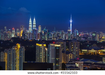Kuala Lumpur cityscape at golden hour, viewed from Mont Kiara, east of KL