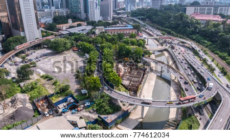 Kuala Lumpur , 13 December 2017 - Mid day view of Kuala Lumpur city, with flyover highway along Jalan Sultan Ismail
