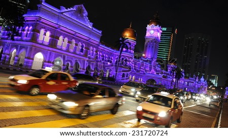 KUALA LUMPUR - FEB 14: General view of the Sultan Abdul Samad Building on Feb 14, 2012 in Kuala Lumpur, Malaysia. The Malay capital was founded in 1859 and is now home to over 1.6 million people.