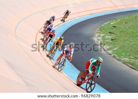 KUALA LUMPUR - FEBRUARY 11: Rider from Iran, leads in the Keirin category during the Asian Cycling Championships 2012 in Kuala Lumpur, Malaysia on Saturday, February 11, 2012