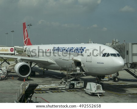 KUALA LUMPUR INTERNATIONAL AIRPORT KLIA, SEPANG, MALAYSIA-SEPT 23, 2016 : Turkish Airlines Airbus A330-300 series parked at apron while refueling in progress.