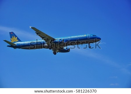 Kuala Lumpur International Airport,  Malaysia,  17th Feb 2017, Vietnam Airlines aircraft on final landing approach at the airport