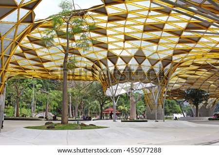 KUALA LUMPUR - JAN 10, 2016: Facade of the garden pavilion in Kuala Lumpur Perdana Botanical Gardens in Jalan Tembusu. The garden formally known as the Lake Gardens was built in 1888 by A.R.Venning.
