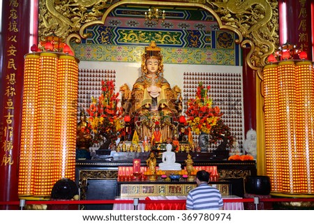KUALA LUMPUR - JANUARY 25 : Thean Hou Temple on 25 January 2016 at KL, Malaysia. Thean Hou is a mixed Buddhist, Taoist and Confucianist temple serving the local Chinese community.