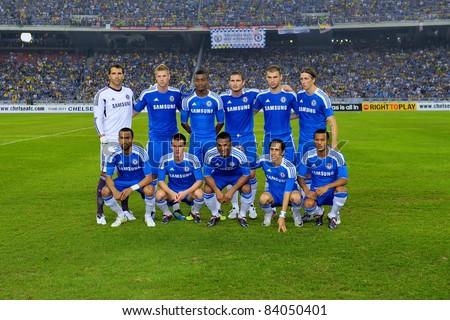 KUALA LUMPUR, JULY 21 : Chelsea's line-up during a preseason match against Malaysia on July 21, 2011 in Kuala Lumpur, Malaysia. Chelsea won 1-0 - stock photo