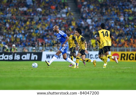 KUALA LUMPUR, July 21 : Chelsea's Nicolas Anelka (center blue)  in action during a preseason match agains Malaysia on July 21, 2011 in Kuala Lumpur, Malaysia. Chelsea won 1-0