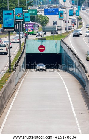 KUALA LUMPUR - JULY 12, 2015: Smart Tunnel at E38 Road. Smart Tunnel is a storm drainage and road structure, 9.7 km long and objective of this tunnel is to solve the problem of flash floods in KL