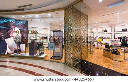 KUALA LUMPUR - JUNE 15, 2016: A view of the Oroton store in the Suria KLCC shopping mall. Oroton is an Australian luxury fashion accessories company known for its leather handbags.