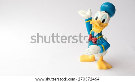 Kuala Lumpur, Malaysia - April 18, 2015: A studo shot of Donald Duck from Mickey Mouse and friends cartoon animation. Donald Duck is a cartoon character created in 1934, at Walt Disney Productions. - stock photo