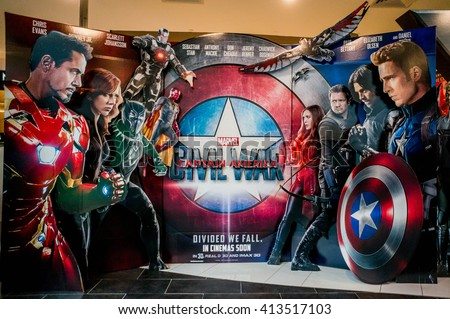 KUALA LUMPUR, MALAYSIA - APRIL, 2016 : A wall sized Captain America poster displayed during a roadshow in Mid Valley taken on 30 April 2016. Captain America: Civil War premieres is on 28th April 2016.