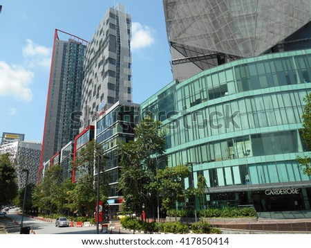 KUALA LUMPUR, MALAYSIA -APRIL 14, 2016: Building facade and with modern architecture design and style in the heart of Kuala Lumpur City, Malaysia.