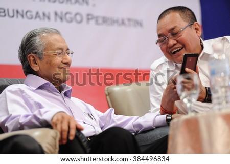 KUALA LUMPUR, MALAYSIA - APRIL 25, 2015: Former Prime Minister of Malaysia Tun Dr Mahathir Mohamad with Ibrahim Ali during  'NATIONALIST TALK EVENT' (Bicara Negarawan) in Taman Melawati. - stock photo
