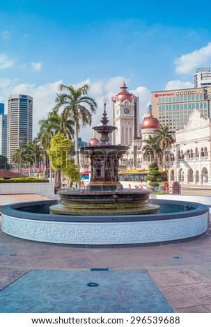 KUALA LUMPUR, MALAYSIA - APRIL 16: Fountain in the park in Kuala Lumpur. It's the national capital and most populous city in Malaysia on April 16, 2013