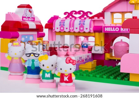 Kuala Lumpur , Malaysia - April 10 , 2015 : Hello kitty children cartoon dining area built with lego block ,product shot