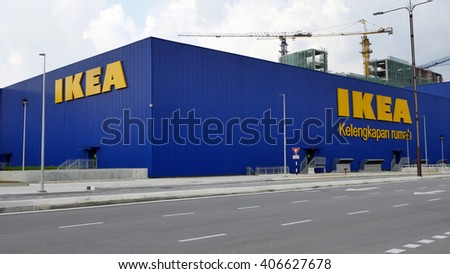 KUALA LUMPUR, MALAYSIA - April 13, 2016. IKEA building in Cheras, Kuala Lumpur. IKEA is a Swedish designs and sell furniture company. Founded in Gothenburg, Sweden since 1943. - stock photo