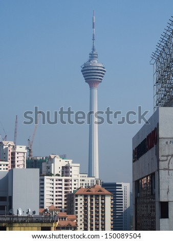 KUALA LUMPUR, MALAYSIA - APRIL 13 : KL-Tower at April 13, 2013, Kuala Lumpur, Malaysia. The second tallest tower in the country with its height of 421 m. It stands on a hill in the city center.