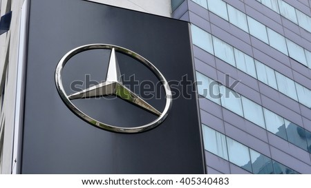 KUALA LUMPUR, MALAYSIA - April 10, 2016. Mercedes-Benz logo display in front of showroom in Kuala Lumpur. Mercedes is a German automobile manufacturer. Founded since 1926