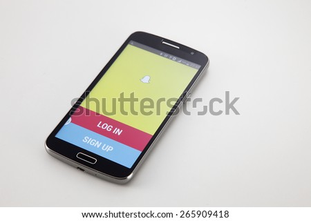 KUALA LUMPUR, MALAYSIA - April 2nd 2015. Released in September 2011, Snapchat is popular a photo messaging application. - stock photo