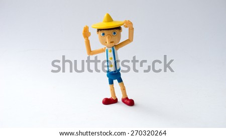 Kuala Lumpur, MALAYSIA - April 18, 2015: Pinocchio toy figure from Shrek the movie franchise. Pinocchio is one of Shrek's best friends and is a wooden puppet. - stock photo