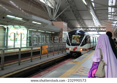 Kuala Lumpur, Malaysia - April 6, 2013: Rapid KL, operated by Rapid Rail, provides monorail service network for 56 kilometers long with 60 stations in Kuala Lumpur, Malaysia.
