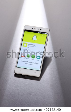 Kuala Lumpur,Malaysia -April 13 2016,Snapchat application on android cell smartphone. Snapchat is a mobile messaging application used to share photos, videos, text, and drawings - stock photo