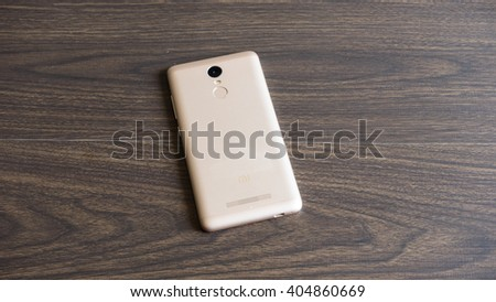 Kuala Lumpur, Malaysia - April 13, 2016: Xiaomi Redmi Note 3 smartphone developed by Xiaomi Inc. Xiaomi is privately owned Chinese electronic company, the world's 5th largest smartphone maker in 2015
