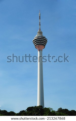 KUALA LUMPUR, MALAYSIA - AUGUST 24: KL Tower view from street on August 24, 2014  - stock photo