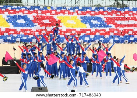 KUALA LUMPUR, MALAYSIA - 29 August 2017 : Malaysian armed forces personnel with uniform perform a marching parade during the full rehearsal for Malaysian Independence Day celebration at Merdeka Square