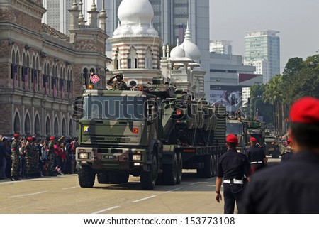KUALA LUMPUR, MALAYSIA - AUGUST 31: Malaysian Armed Forces takes part during the Independence Day celebration in Kuala Lumpur, Malaysia, 31 August 2013.  - stock photo