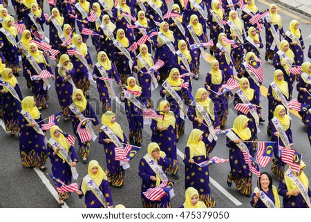KUALA LUMPUR, MALAYSIA - AUGUST 29,2016 : Rehearsal parade for celebrating the independence day of Malaysia. Malaysia Independence Day Parade will be held on August 31,2016.