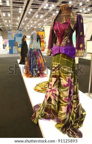 KUALA LUMPUR, MALAYSIA - DEC 10: Batik fashion design and creation on display during the Kuala Lumpur International Batik (KLIB2011) on December 10, 2011 in Kuala Lumpur, Malaysia - stock photo