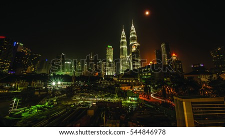 KUALA LUMPUR, MALAYSIA - December 24, 2016: Beautiful panorama view of Kuala Lumpur skyline at night. (Note: Image contains noise, film grain and blurry due to long exposure and high iso).