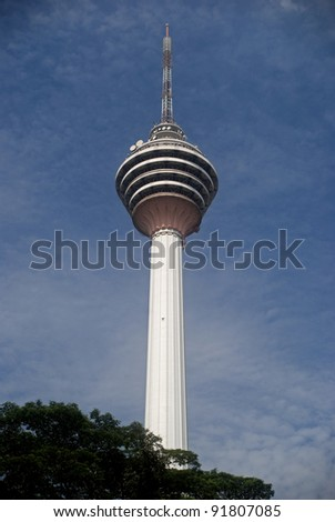 KUALA LUMPUR, MALAYSIA - DECEMBER 13 : KL-Tower at December 13, 2011, Kuala Lumpur, Malaysia. The second tallest tower in the country with its height of 421 m. It stands on a hill in the city center.