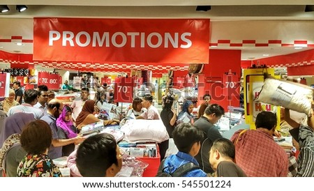 KUALA LUMPUR, MALAYSIA - 30 DECEMBER 2016: Promotions at Happy Hour on Sogo Member's Day. Sogo KL is a retail shopping haven for the hottest sales and promotions.